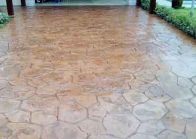 hexagonal shaped concrete flooring