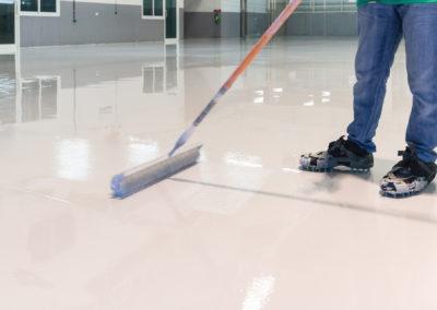 white epoxy resin floor covering