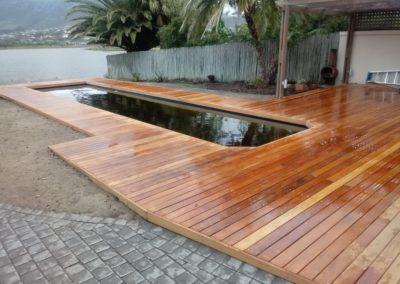light brown wooden decking